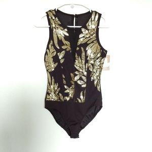 Bodysuit Black Sequins Gold Sleeveless Moda Feelin
